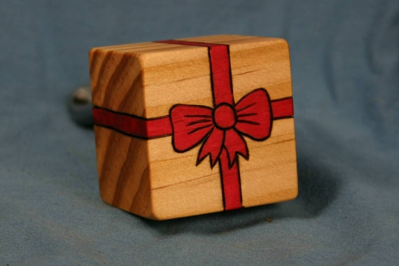 Wood Wine Bottle Stopper Gift Box with Woodburned Red Ribbon New Zealand Pine