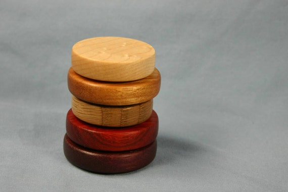 Set of Five Multicolor Wooden Refrigerator Magnets Natural Colors