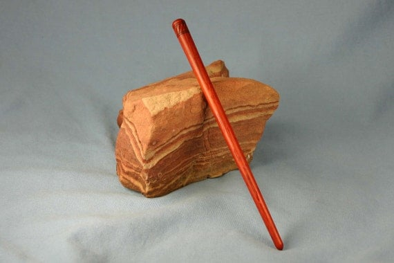 Wooden Hair Stick - Padauk with Wood Burned Band of Slashes