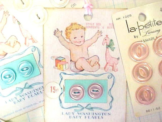 Ooh Baby Sugar Sweet Sewing Buttons Plus Tags Cards Vintage Estate Embellishments