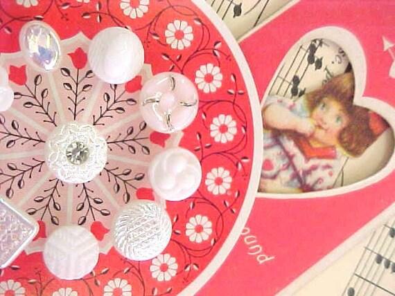 Dreamy White Glass Sewing Button Collection Vintage Fashion Embellishments Plus Valentine Scrap Card