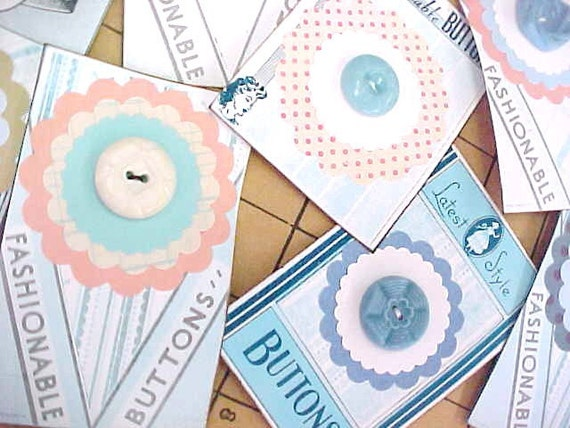 Vintage Button Love (8) Each Button Embellished Tags Cards Paper Ephemera