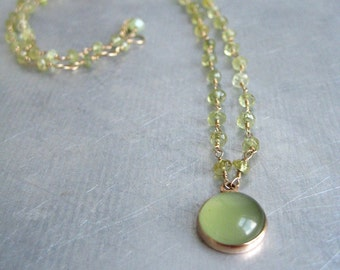 Faceted Green Garnet with Serpentine Cabochon Solid 14k Rose Gold Necklace