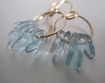 Aquamarine Fringed Loops Solid 14k Gold Earrings