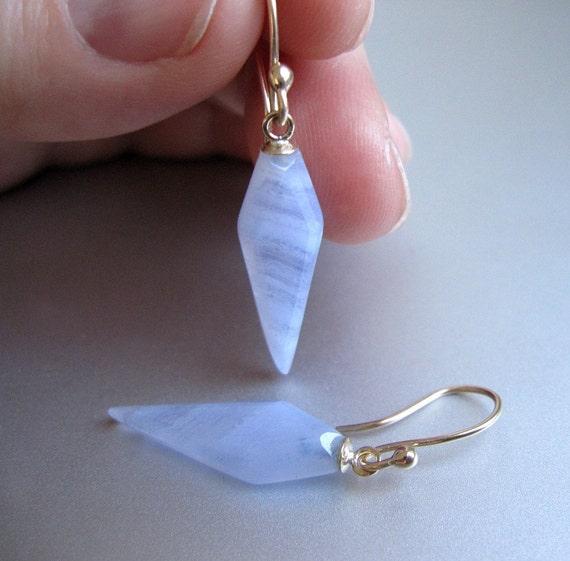 Long Blue Chalcedony Diamond Drops Solid 14k Yellow Gold Earrings