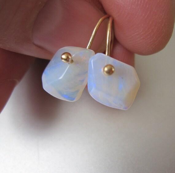 Opal Nuggets Solid 14k Gold Earrings