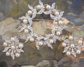 Vintage Demi Parure Signed Charel Goldtone, Rhinestone and Pearl Brooch and Earrings