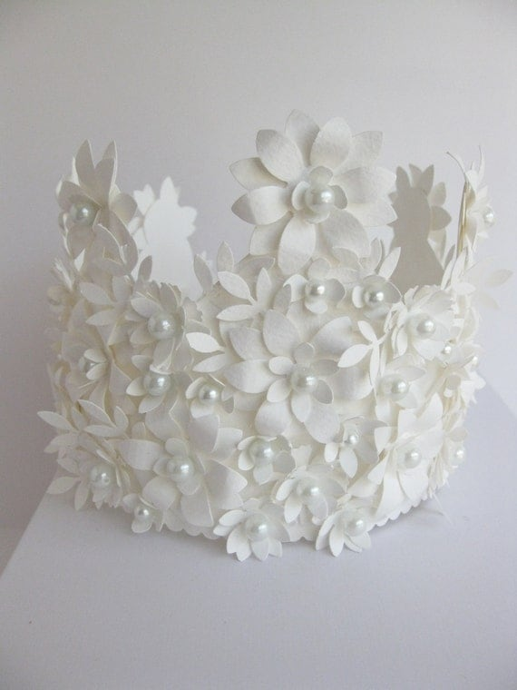 White Crown of Paper and glass pearls  handmade