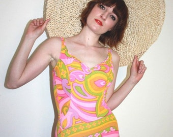 1960s floral and  psychedelic print  swimsuit