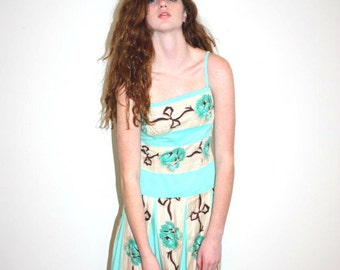 Betsey Johnson vintage floral drop waist dress