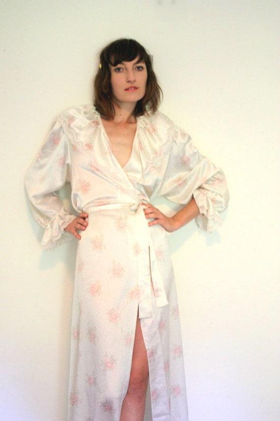 Vintage Christian Dior rose print Peignoir robe