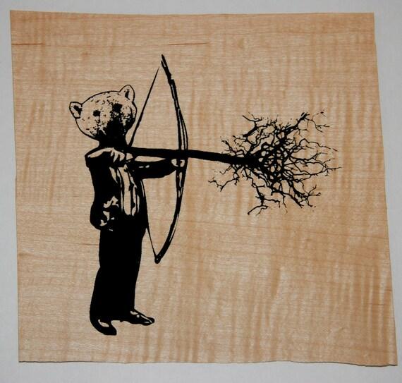 bear head with bows and arrows, screenprint on veneer
