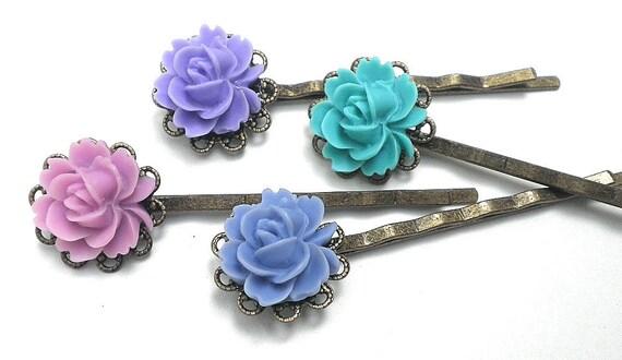 PS, SALE, Rose Filigree multi-colored Hair Pins