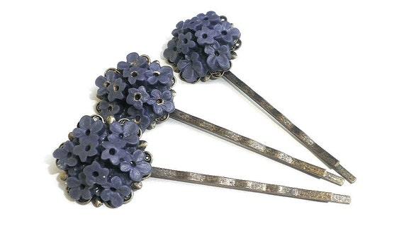 Purple posey filigree Hair Pins