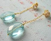 Aqua Quartz and Rhinestone Earrings