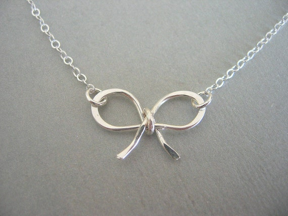 Bridesmaid Gifts, Silver Jewelry, Sterling Silver Bow Necklace, Silver Necklace, Bow Necklace