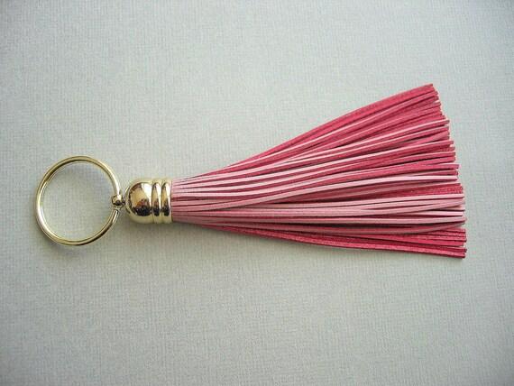 Pastel Pink Leather Tassel Key Chain, Fringe,Valentine Gift