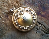 ANTIQUE Art Nouveau Diamond Locket with Repousse Bow Motif in Solid 10K Yellow Gold