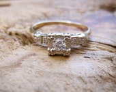 VINTAGE Art Deco Diamond Engagement Ring in 14K Yellow and White Gold Setting