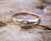 VINTAGE Art Deco Diamond Solitaire Engagement Ring in 14K Yellow and White Gold Setting
