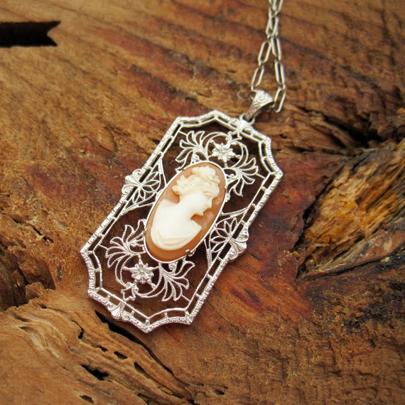 VINTAGE Art Deco Shell Cameo Lavalier Pendant / Lavaliere Necklace in 10K White Yellow Gold Filigree