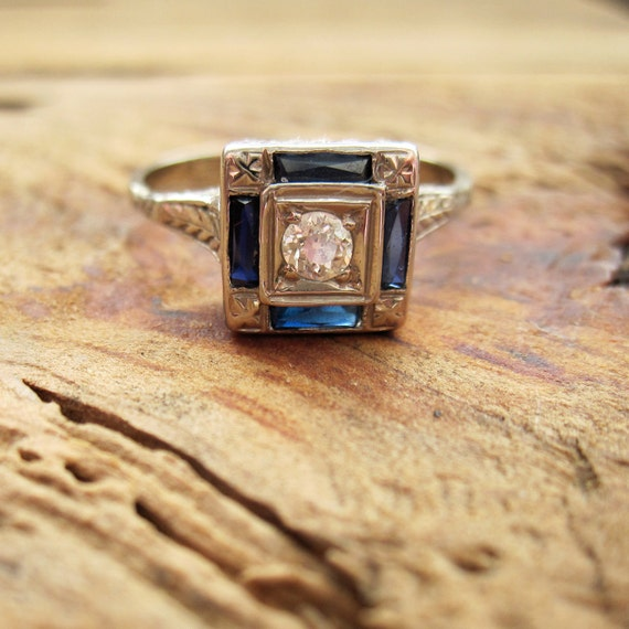 RESERVED / VINTAGE Art Deco Diamond and Sapphire Engagement Ring in 14K White Gold