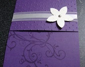 Elegant Eggplant Wedding Invitation Sample with envelope and reply postcard - customize