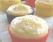 Gluten Free Vanilla Cupcakes with Organic Lemon Cream Cheese Frosting...