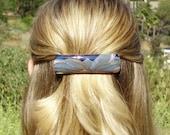 Porcelain Hair Barrette Navy Blue and Lavender Flower