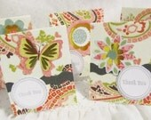 Butterflies, Flowers and Paisley Mini Thank You Cards Set of 18