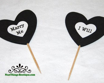 Marry Me I Will Heart Cupcake Toppers Food Picks Black White 12