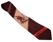 Vintage 1940s 1950s ROBIN HOOD Will Scarlet Rayon Graphic Tie Neck Tie