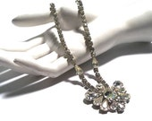 Absolutely Gorgeous Vintage 1950's Crystal Clear Rhinestone Necklace & Earring Set