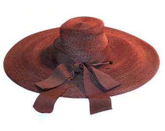 Vintage 1940s HUGE Floppy Chocolate Brown Sun Beach Hat By Knox Called Hyannis