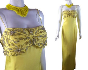 Chartreuse Yellow Silk Vintage  Cocktail Dress Couture Rhinestone and Pearl Ball Gown early 1970s