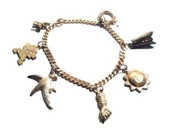 Vintage  Mexican Silver 1950s Souvenir Charm Bracelet  7 Charms Aztec, Mexico, Peru Theme