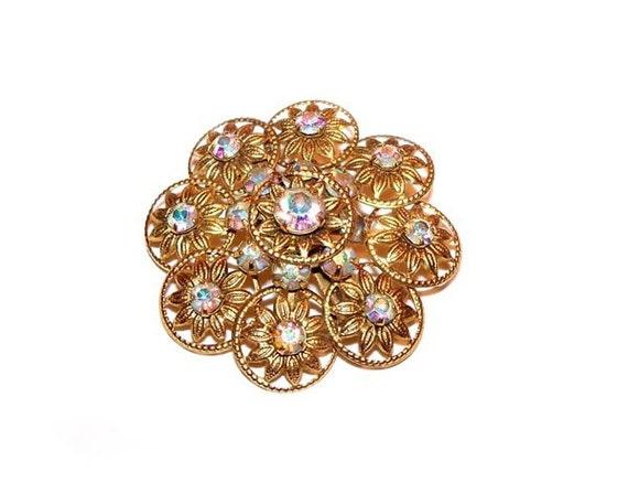 Vintage Aurora Borealis Gold Flower RHINESTONE Pin Brooch
