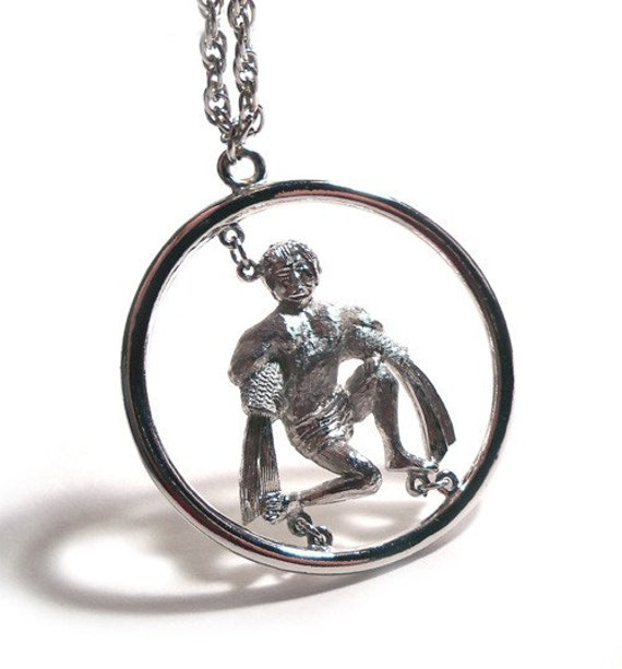 Super Kitschy Age of Aquarius Vintage 1970's Silver Horoscope Necklace and Pendant