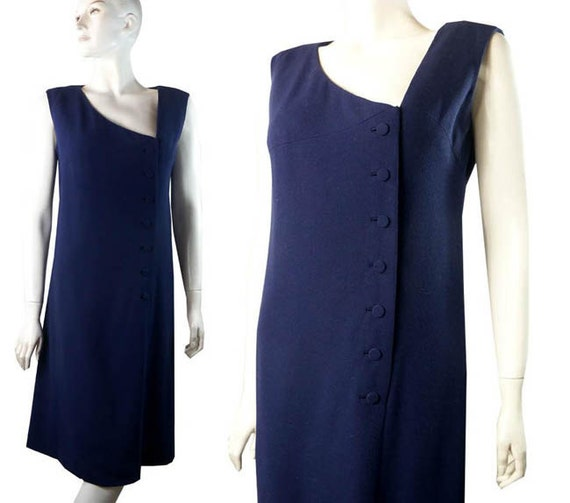 Whimsical Vintage Late 1950s Wool Pauline Trigere Navy Blue Asymmetrical Romper Dress