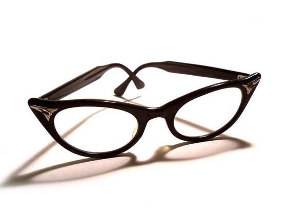 Meow vintage 1950s art craft black pointed cat eye eyeglasses for Art craft eyeglasses vintage