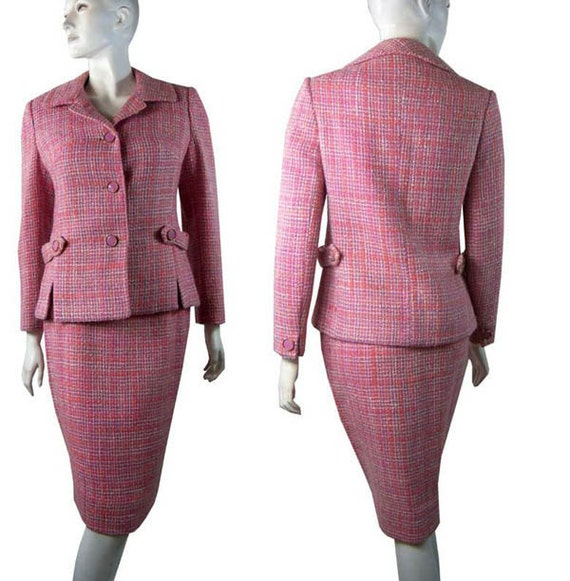 Classic Tailorbrooke VINTAGE 1960s Pink & White Tweed Dress SUIT Jacket with Pencil Skirt Medium