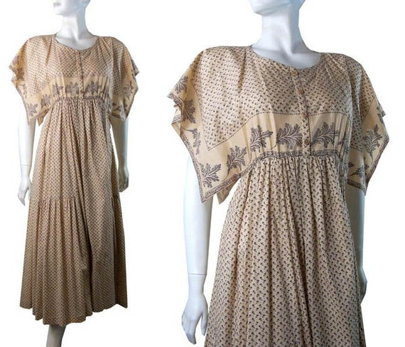 Avante Garde Vintage 1970s Cacheral Bohemian Party Dress Size 38/6