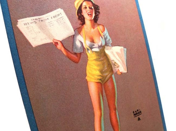 Authentic Vintage 1940s Earl Moran Larger Risque Pin Up Salesman Sample Card Special Extra