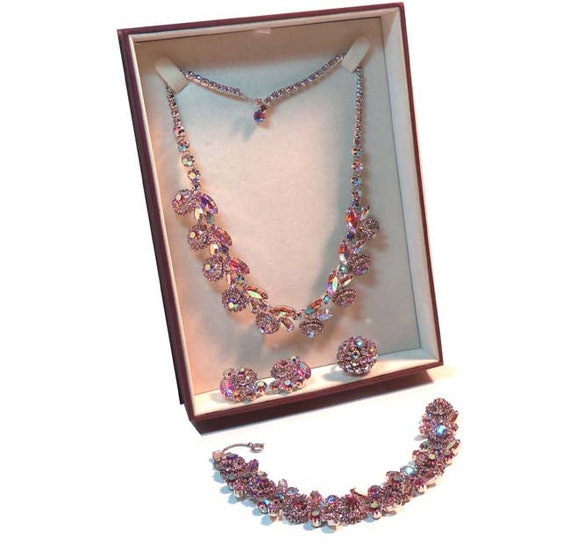 Vintage 1950s Signed WEISS Aurora Borealis PINK Floral RHINESTONE Bracelet, Necklace, Ring and Earring Set with Box
