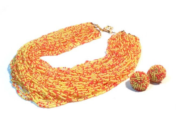 1950's Yellow & Hot Pink Micro Glass Beads Necklace and Earring Set Made In Italy
