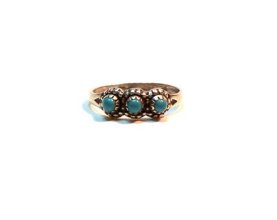 Vintage Bell Trading Company Sterling Silver Turquoise Pinky  Ring Size 4
