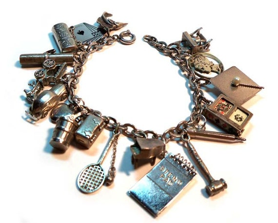 Articulated Vintage STERLING SILVER 1940s-1950s Charm Bracelet 18 Charms Deck of Cards, Reading Glasses in Case, Hope Chest That Opens, etc
