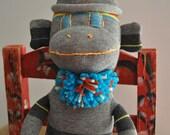 Sock Monkey Dark Grey Stripe Turquoise Red Birthday Boy Gift