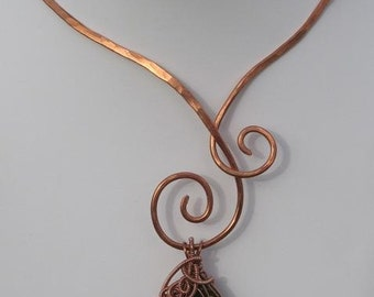 Sacred Spiral,  Hand Hammered Copper Wire Wrapped Collar