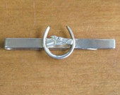 Vintage Brass Horseshoe Horse Head Tie Clip by Swank